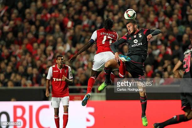 Benfica's midfielder Bryan Cristante vies with Braga's forward Eder during the Portuguese Cup match between SL Benfica and SC Braga at Estadio da Luz...