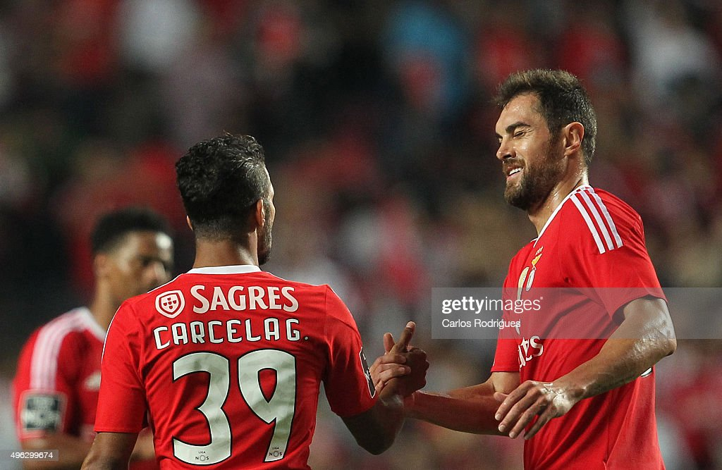 Benfica's midfielder Carcela-Gonzalez celebrates scoring Benfica«s second goal with Benfica's defender Jardel Vieira during the match between SL Benfica and Boavista FC at Estadio da Luz on November 8, 2015 in Lisbon, Portugal.