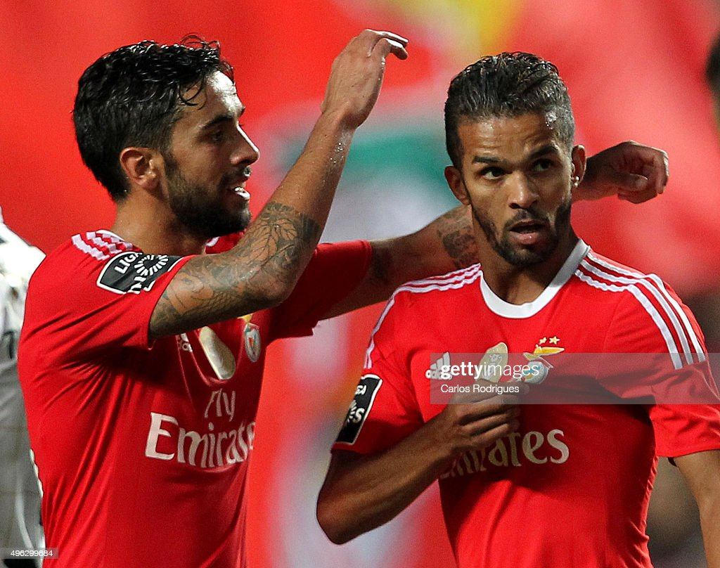 Benfica's midfielder Carcela-Gonzalez celebrates scoring Benfica«s second goal with Benfica's defender Silvio during the match between SL Benfica and Boavista FC at Estadio da Luz on November 8, 2015 in Lisbon, Portugal.