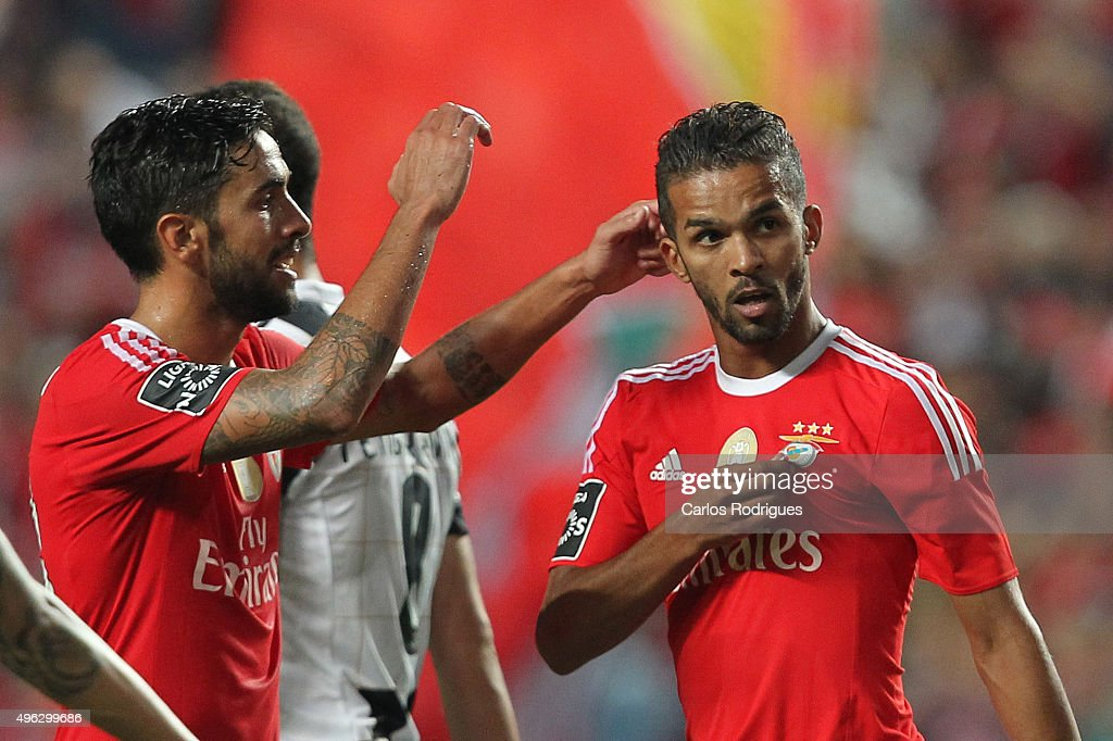 Benfica's midfielder Carcela-Gonzalez celebrates scoring Benfica«s second goal during the match between SL Benfica and Boavista FC at Estadio da Luz on November 8, 2015 in Lisbon, Portugal.