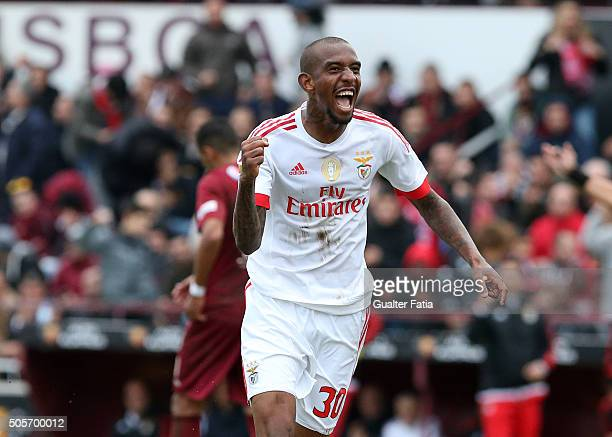 Benfica's midfielder from Brazil Anderson Talisca celebrates after scoring a goal during the Taca da Liga match between Oriental Lisboa and SL...