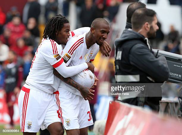 Benfica's midfielder from Brazil Anderson Talisca celebrates with SL Benfica's midfielder Renato Sanches after scoring a goal during the Taca da Liga...