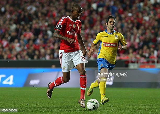 Benfica's midfielder from Brazil Anderson Talisca with FC Arouca's midfielder Adilson Tavares in action during the Primeira Liga match between SL...