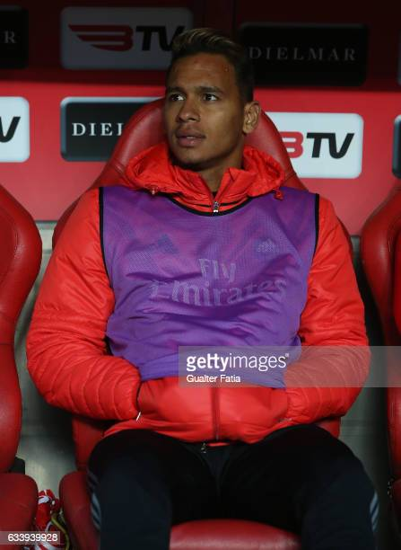 Benfica's midfielder from Brazil Filipe Augusto before the start of the Primeira Liga match between SL Benfica and CD Nacional at Estadio da Luz on...