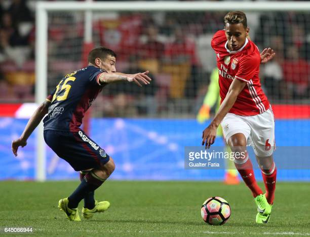 Benfica's midfielder from Brazil Filipe Augusto with Chaves's forward Pedro Tiba from Portugal in action during the Primeira Liga match between SL...