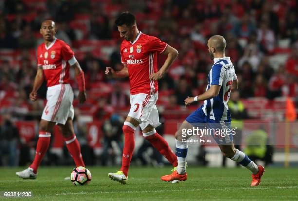 Benfica's midfielder from Greece Andreas Samaris with FC Porto's midfielder from Portugal Andre Andre in action during the Primeira Liga match...