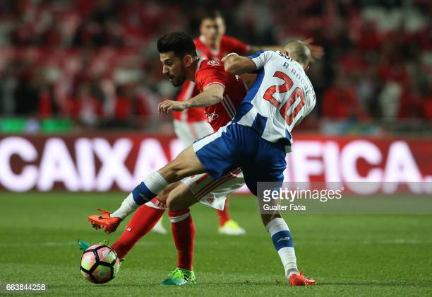 Benfica's midfielder from Portugal Pizzi with FC Porto's midfielder from Portugal Andre Andre in action during the Primeira Liga match between SL...