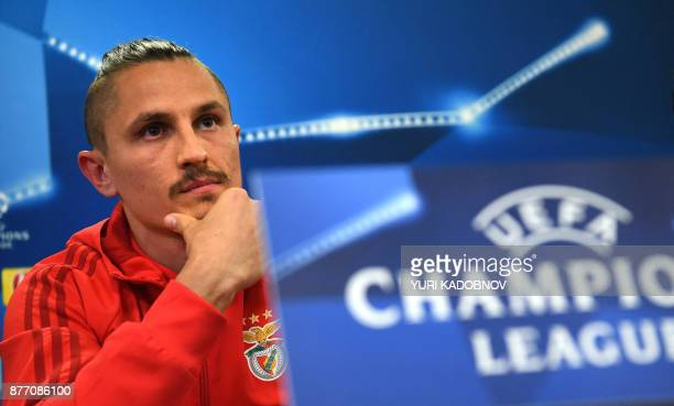 Benfica's midfielder from Serbia Ljubomir Fejsa attends a press conference in Moscow on November 21 2017 on the eve of the UEFA Champions League...