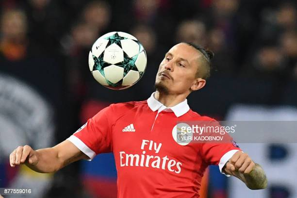 Benfica's midfielder from Serbia Ljubomir Fejsa eyes the ball during the UEFA Champions League Group A football match between PFC CSKA Moscow and SL...
