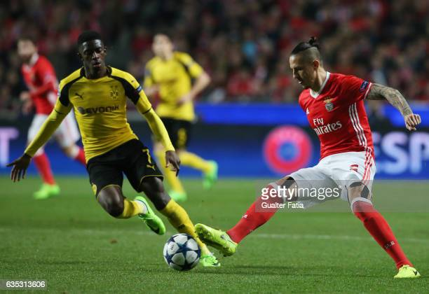Benfica's midfielder from Serbia Ljubomir Fejsa with Dortmund's forward Ousmane Dembele from France in action during the UEFA Champions League Round...