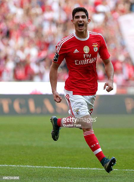 Benfica's midfielder Goncalo Guedes celebrates after scoring a goal during the Primeira Liga match between SL Benfica and Boavista at Estadio da Luz...