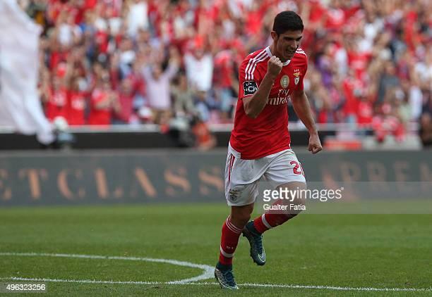Benfica's midfielder Goncalo Guedes celebrates after scoring a goal during the Primeira Liga match between SL Benfica and Boavista at Estadio da Luz...