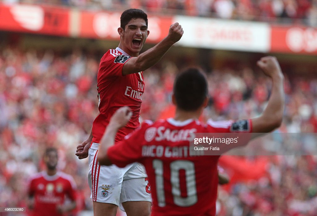 SL Benfica's midfielder Goncalo Guedes celebrates after scoring a goal during the Primeira Liga match between SL Benfica and Boavista at Estadio da Luz on November 8, 2015 in Lisbon, Portugal.