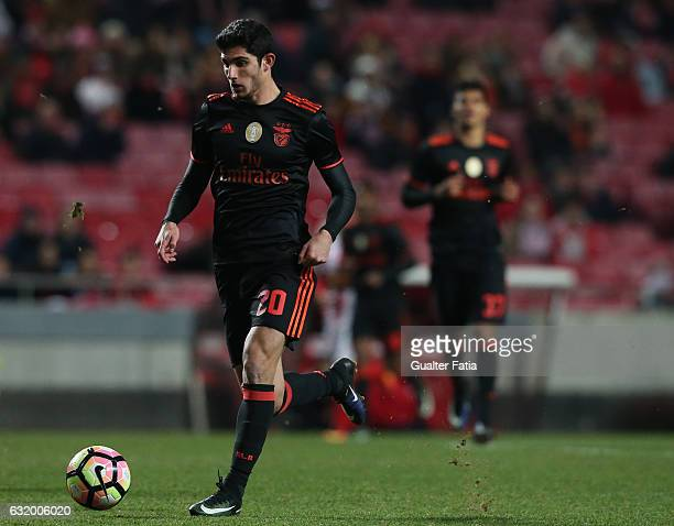 Benfica's midfielder Goncalo Guedes in action during the Portuguese Cup match between SL Benfica and Leixoes at Estadio da Luz on January 18 2017 in...