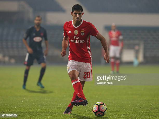 Benfica's midfielder Goncalo Guedes in action during the Primeira Liga match between Belenenses and SL Benfica at Estadio do Restelo on October 23...