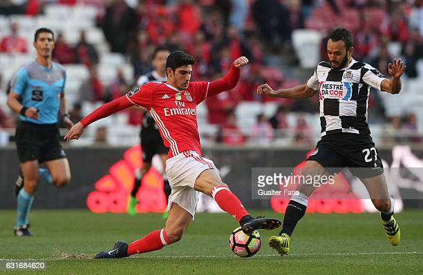 Benfica's midfielder Goncalo Guedes with Boavista's midfielder Anderson Carvalho from Brazil in action during the Primeira Liga match between SL...