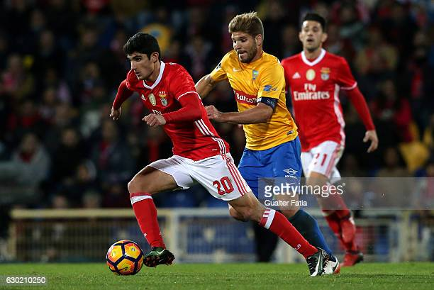 BenficaÕs midfielder Goncalo Guedes with Estoril's midfielder Diogo Amado from Portugal in action during the Primeira Liga match between GD Estoril...