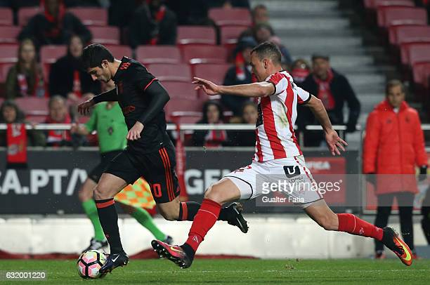 Benfica's midfielder Goncalo Guedes with Leixoes's defender Wellington from Brazil in action during the Portuguese Cup match between SL Benfica and...