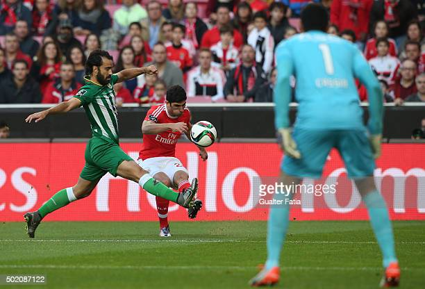 Benfica's midfielder Goncalo Guedes with Rio Ave FC's defender Marcelo in action during the Primeira Liga match between SL Benfica and Rio Ave FC at...