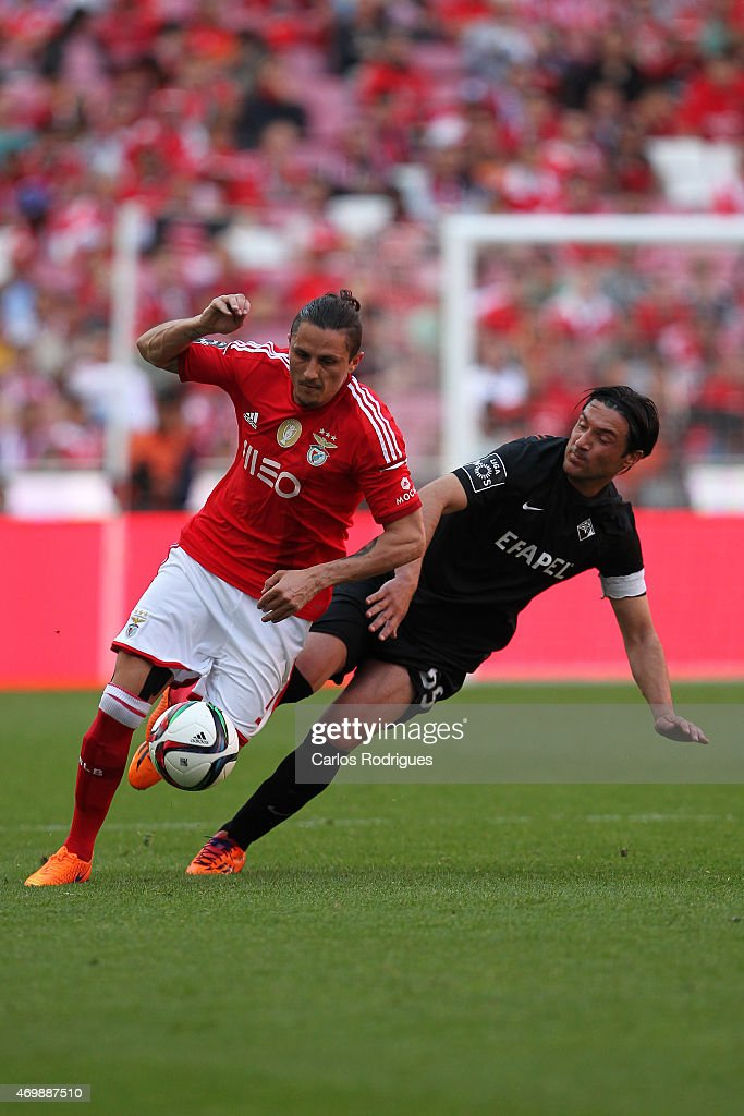 Benfica's midfielder Ljubomir Fejsa vies with Academica's midfielder Fernando Alexandre during the Primeira Liga Portugal match between Benfica and Academica at Estadio da Luz on April 12, 2015 in Lisbon, Portugal.