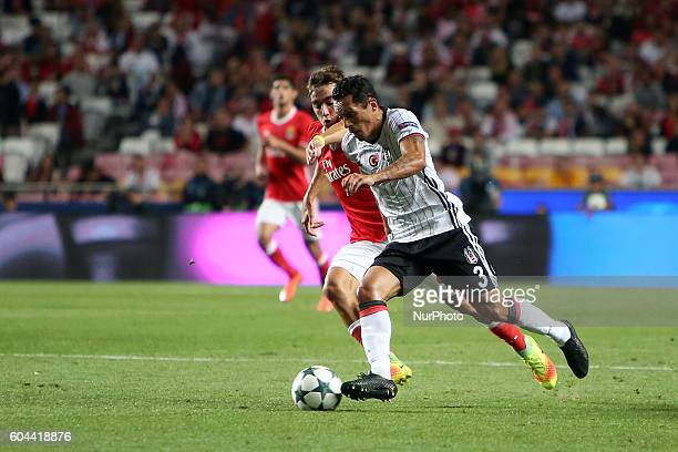 Benfica's midfielder Ljubomir Fejsa vies with Besiktas' defender Caner Erkin during the UEFA Champions League Group B football match between SL...