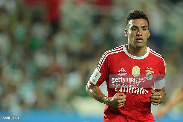 Benfica's midfielder Nicolas Gaitan during the Portuguese Super Cup match between SL Benfica and Sporting CP at Estadio Algarve on August 9 2015 in...