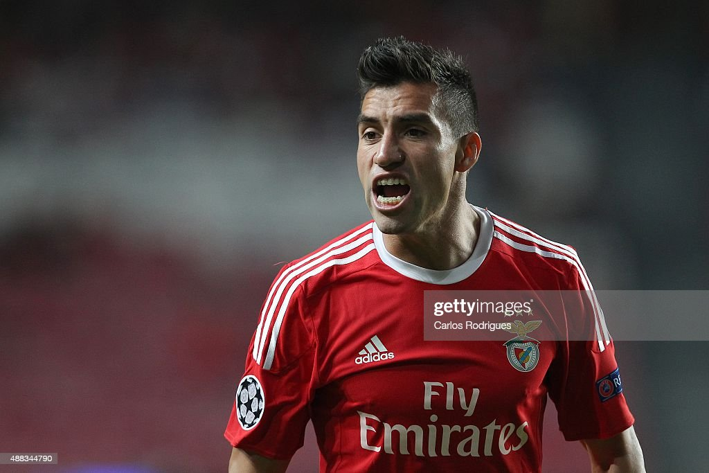 Benfica's midfielder <a gi-track='captionPersonalityLinkClicked' href=/galleries/search?phrase=Nicolas+Gaitan&family=editorial&specificpeople=5538639 ng-click='$event.stopPropagation()'>Nicolas Gaitan</a> reacts during the match between SL Benfica and FC Astana for the UEFA Champions League at Estadio da Luz on August 29, 2015 in Lisbon, Portugal.