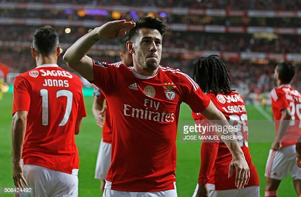 Benfica's midfielder Pizzi celebrates his goal during the Portuguese league football match SL Benfica vs FC Arouca at the Luz stadium in Lisbon on...