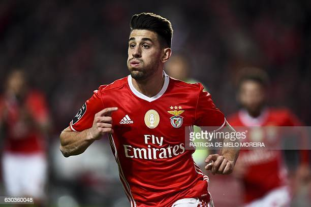 Benfica's midfielder Pizzi Fernandes celebrates after scoring during the Portuguese league football match SL Benfica vs Rio Ave FC at the Luz stadium...