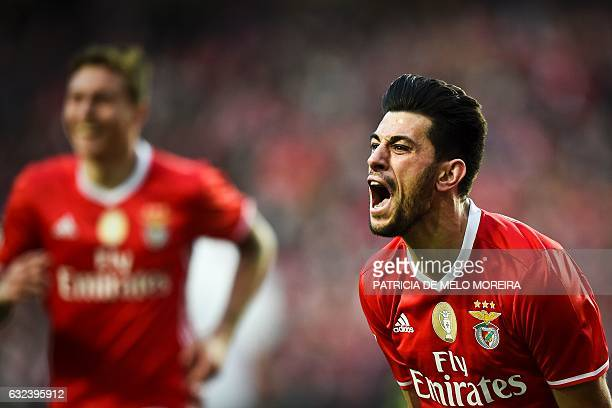 Benfica's midfielder Pizzi Fernandes celebrates after scoring during the Portuguese league football match SL Benfica vs CD Tondela at the Luz stadium...