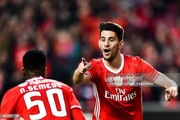 Benfica's midfielder Pizzi Fernandes celebrates after scoring his second goal during the Portuguese league football match SL Benfica vs CD Tondela at...