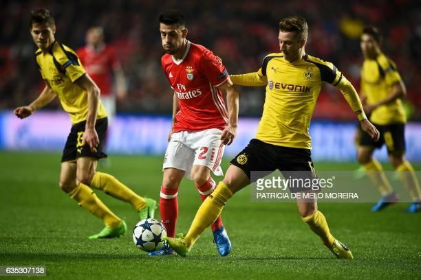 Benfica's midfielder Pizzi Fernandes vies with Dortmund's midfielder Marco Reus during the UEFA Champions League round of 16 first leg football match...