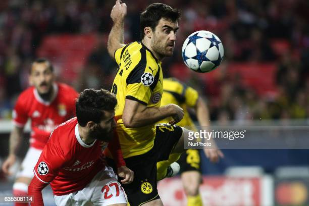 Benfica's midfielder Rafa Silva vies with Dortmund's defender Sokratis Papastathopoulos during the Champions League football match between SL Benfica...