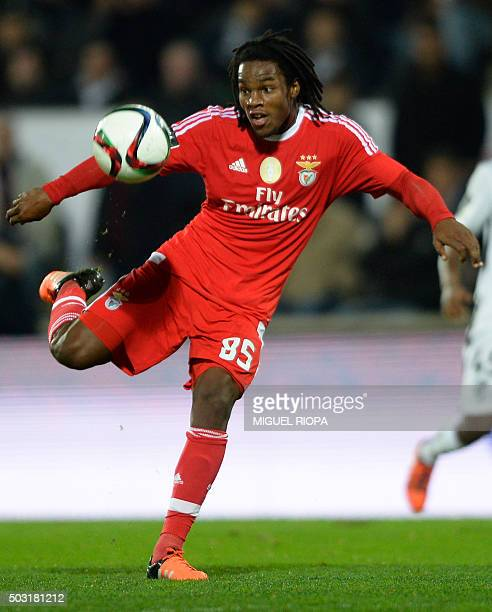 Benfica's midfielder Renato Sanches kicks the ball during the Portuguese league football match Vitoria SC vs SL Benfica at the Dom Afonso Henriques...