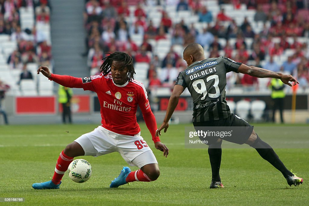 Benfica's midfielder <a gi-track='captionPersonalityLinkClicked' href=/galleries/search?phrase=Renato+Sanches&family=editorial&specificpeople=12513402 ng-click='$event.stopPropagation()'>Renato Sanches</a> vies with Guimaraes's defender Dalbert Estevo during the Portuguese League football match SL Benfica vs Vitoria Guimaraes SC at Luz stadium in Lisbon on April 29, 2016.