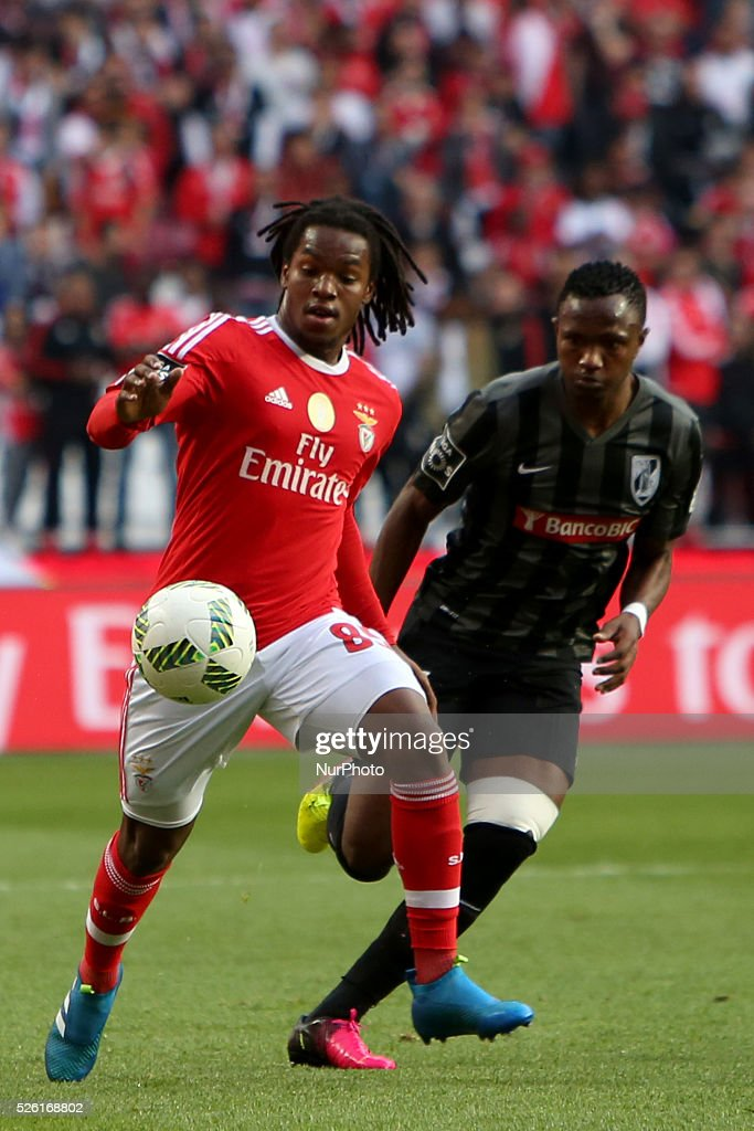 Benfica's midfielder <a gi-track='captionPersonalityLinkClicked' href=/galleries/search?phrase=Renato+Sanches&family=editorial&specificpeople=12513402 ng-click='$event.stopPropagation()'>Renato Sanches</a> vies with Guimaraes's midfielder Caf during the Portuguese League football match SL Benfica vs Vitoria Guimaraes SC at Luz stadium in Lisbon on April 29, 2016.
