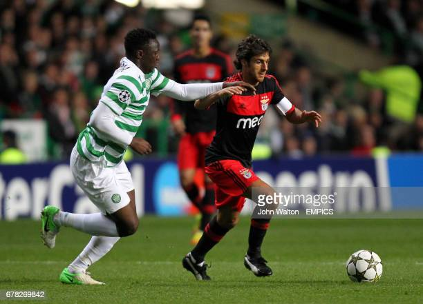 Benfica's Pablo Aimar and Celtic's Victor Wanyama battle for possession of the ball
