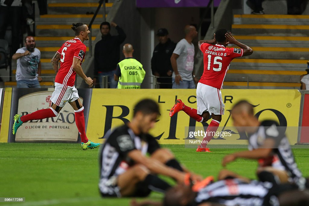 Benfica's Peruvian forward Andre Carrillo celebrates after scoring a goal during Premier League 2016/17 match between CD Nacional and SL Benfica at...