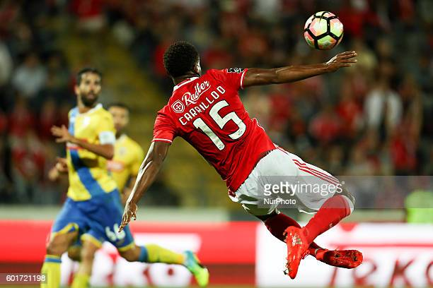 Benfica's Peruvian forward Andre Carrillo in action during Premier League 2016/17 match between FC Arouca and SL Benfica at Municipal de Arouca...