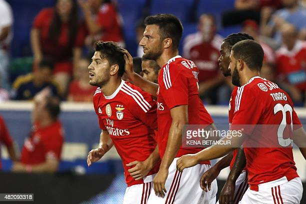 Benfica's Pizzi celebrates after scoring a goal against Red Bulls during the International Champions Cup football match between SL Benfica and Red...
