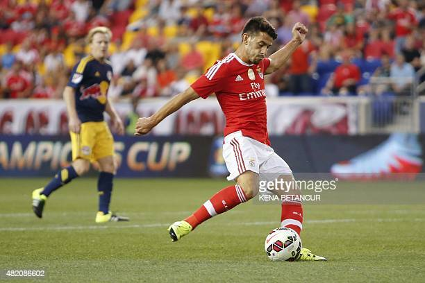 Benfica's Pizzi drives toward the goal against Red Bulls during the International Champions Cup football match between SL Benfica and Red Bulls at...