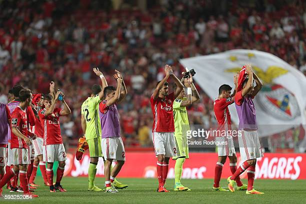 Benfica's player thanks the supporters ate the end of the match between SL Benfica and Vitoria Setubal FC for the Portuguese Primeira Liga at Estadio...