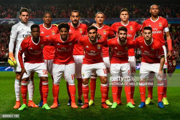 Benfica's players Brazilian goalkeeper Ederson Moraes Peruvian forward Andre Carrillo Greek forward Konstantinos Mitroglou Serbian midfielder...