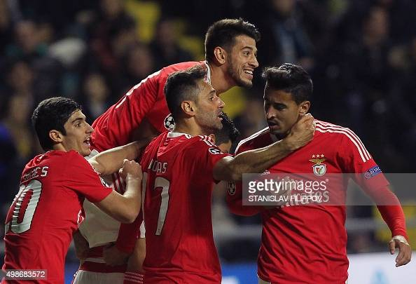 Benfica's players celebrate a goal during the UEFA Champions League group C football match between FC Astana and SL Benfica at the Astana Arena...