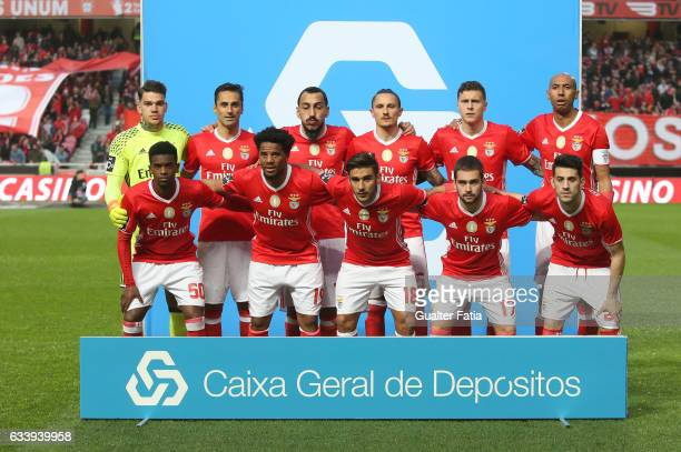 Benfica's players pose for a team photo before the start of the Primeira Liga match between SL Benfica and CD Nacional at Estadio da Luz on February...
