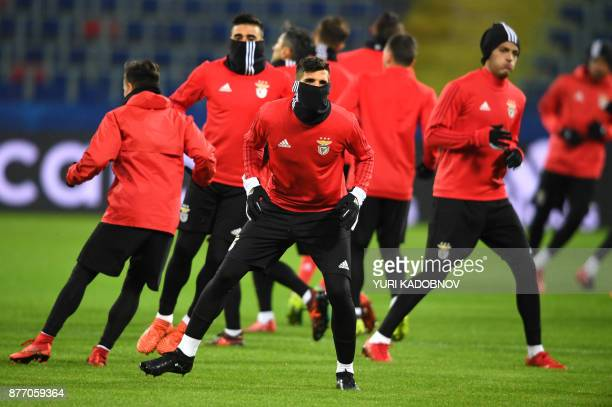 Benfica's players take part in a training session in Moscow on November 21 2017 on the eve of the UEFA Champions League Group A football match...
