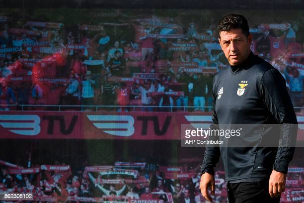 Benfica's Portuguese coach Rui Vitoria arrives for a training session at the club's training ground in Seixal in the outskirts of Lisbon on October...