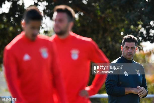 Benfica's Portuguese coach Rui Vitoria attends a training session at the club's training ground in Seixal in the outskirts of Lisbon on October 17...