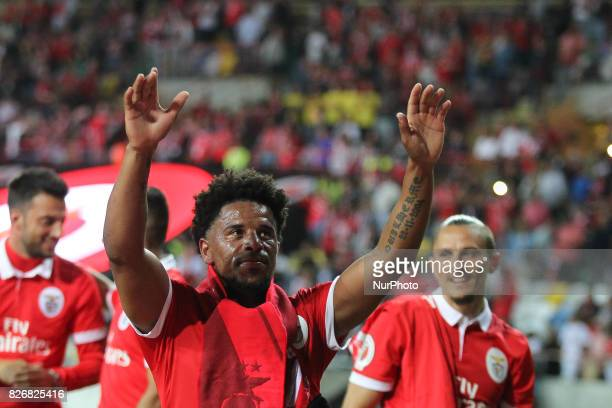 Benfica's Portuguese defender Eliseu celebrates on final match during the Candido Oliveira Super Cup match between SL Benfica and Vitoria Guimaraes...