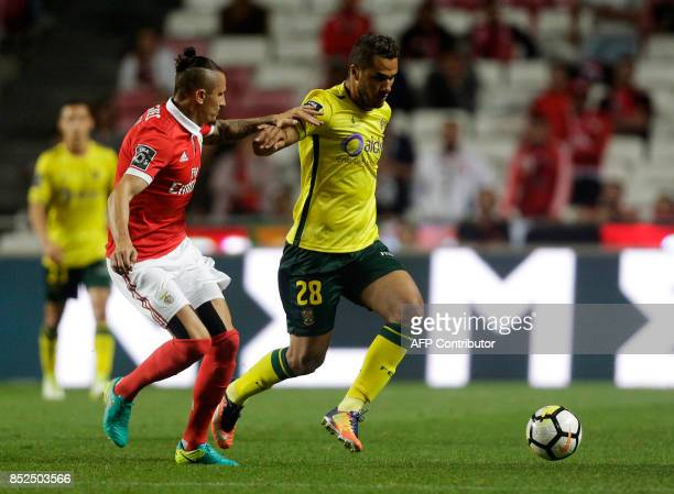 Benfica's Serbian midfielder Ljubomir Fejsa vies with Pacos Ferreira's Brazilian forward Luiz Phellype during the Portuguese league football match SL...